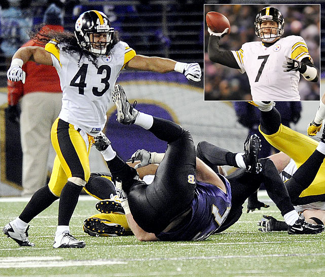 This is arguably the league's best current rivalry because the teams are virtual mirror images of each other. They're smart, physical and built around their defenses and running games. As expected, this was another slugfest.  Baltimore appeared to be in control with 3:22 to play; it had the ball and a four-point lead. However, that's when Steelers safety Troy Polamalu blitzed from the right side of the defense and stripped QB Joe Flacco of the ball. That set up Ben Roethlisberger's 9-yard touchdown pass to running back Isaac Redman. But before the Steelers could finish celebrating, the Ravens rallied back and advanced to the Pittsburgh 31-yard line. Rather than attempt a tying field goal, Baltimore went for it on fourth down-and-2; Flacco short-hopped a pass to a wide-open Ed Dickson to end the game. Notable: It was the fourth consecutive meeting decided by three points.