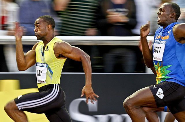 In Stockholm, Gay (9.84) beat Bolt (9.97) for the first time and handed the world's fastest man his first 100-meter loss since July 2008.