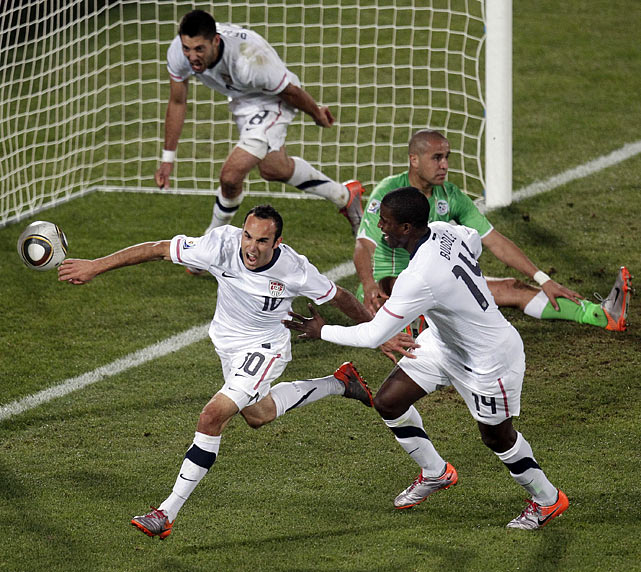 Locked in a scoreless tie after missing a host of chances (and fortunate not to be trailing after Algeria hit the crossbar early), the U.S. was staring at first-round elimination in the World Cup. But Landon Donovan dramatically scored in the first minute of injury time to send the U.S. into the second round as group-stage winners for the first time in team history, sending U.S. TV soccer ratings to all-time highs and its fans into rapture.
