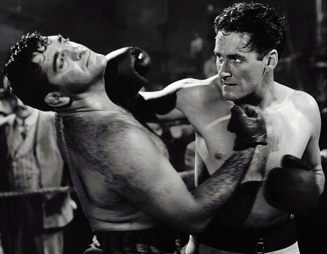 "Directed by Raoul Walsh. Starring Errol Flynn, Alexis Smith, Jack Carson.   THE STORY  The suave, dashing Flynn shows off some of the bext moves in boxing movie history as suave, dashing Gentleman Jim Corbett, the fistic scientist who defeated John L. Sullivan for the world heavyweight championship. And he gets the girl.  THE LEGACY  Flynn suffered a heart attack during filming but returned to shoot the rest of the movie, doing all his own boxing stunts without a double.  THE QUOTE  ""The first time I saw you fight I was just a bit of a kid. There wasn't a man alive who could have stood up to you then. And tonight, well, I was just mighty glad that you weren't the John L. Sullivan of 10 years ago.""  --James J. Corbett (Flynn)"