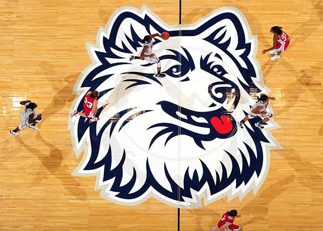 An overhead view of the Huskie mascot on center court as Connecticut took on Sacred Heart at the XL Center December 5 in Hartford. Connecticut routed Sacred Heart 86-32 to win its 86th consecutive game.