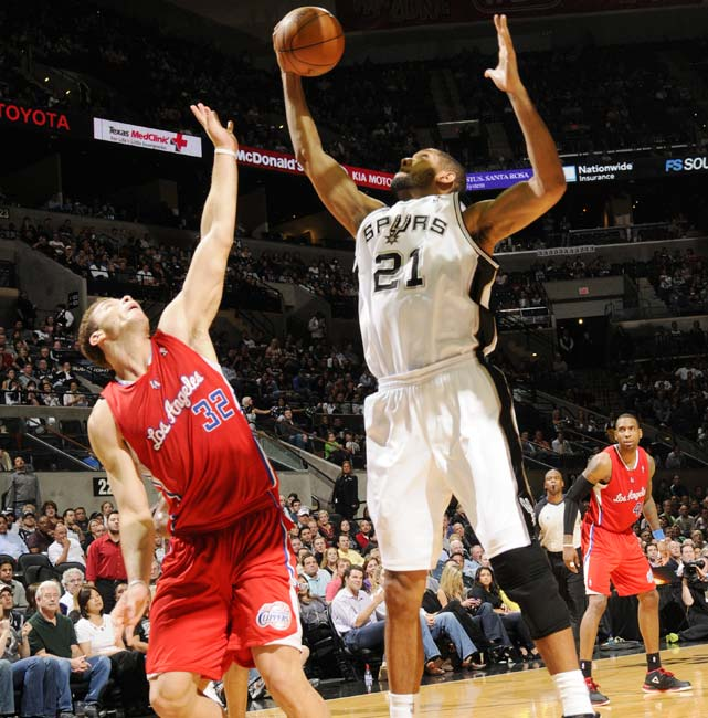 Because his minutes are down, Duncan is on pace to average fewer than 10 rebounds for the first time in his 14-year career. Still, the two-time MVP and four-time NBA champion is third among active players in total rebounds.