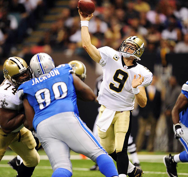 6 --  In 2009, Brees led the Saints to  a 45-27 Opening Day victory with a career-best six touchdowns, tying a franchise record set by Billy Kilmer in 1969.
