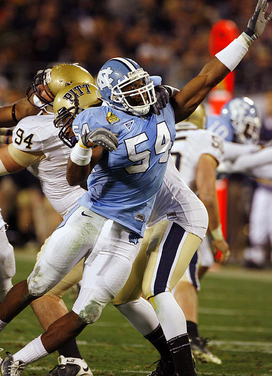 Carter, a productive three-year starter for the Tar Heels, is the most  complete linebacker availablel.   He's a three-down defender and a natural fit on the weak side for a  conventional defense.   A  terrific athlete and displays great skill in pass coverage, he makes plays  sideline-to-sideline.     1 st  Round  Prospect