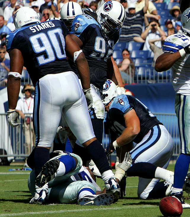 "In one of the most appalling plays in recent memory, then-Titan Albert Haynesworth stomped on Cowboys' center Andre Gurode's head on Oct. 1, 2006, opening a severe gash under his right eye that required 30 stitches.  Haynesworth was ejected from the game and suspended for the next five for his heinous act.  ""What I did out there was disgusting,"" he said in his postgame press conference."