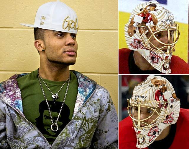 "His reputation as a disruptive personality is deserved,  but the temperamental, tattoo'ed netminder nicknamed Razor is also known for  wearing eye-popping suits that rival Don Cherry's, putting Mike Tyson on his goalie  mask, and accepting a dare from teammate Daniel Alfredsson to eat a cockroach  they'd found in the Senators' dressing room. ""He's a flamboyant guy,"" Jason  Spezza noted, ""but also a really intelligent guy. That's why he can handle all  the distractions he creates for himself."""