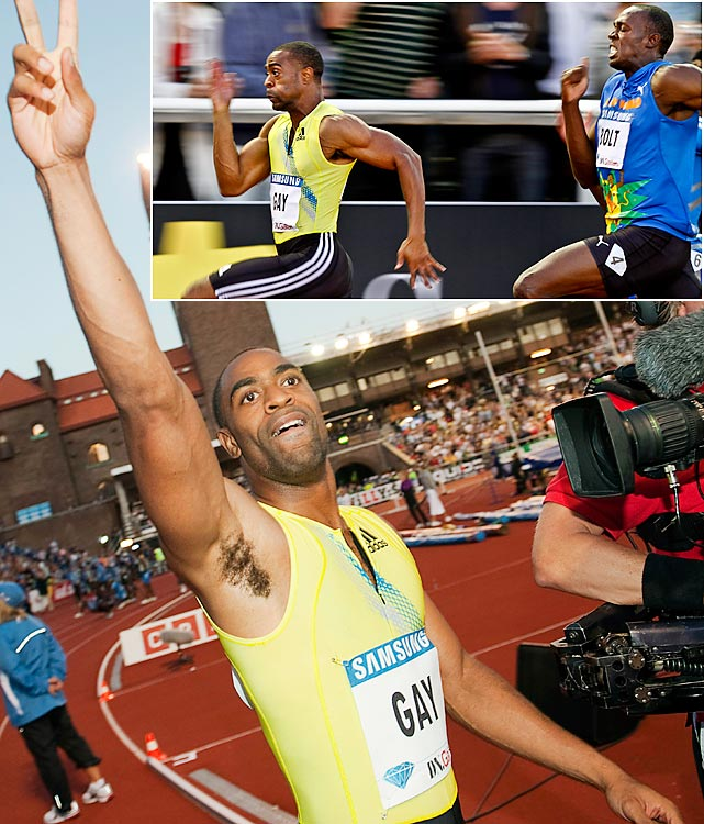 Usain Bolt finally found competition in 2010. It came from American Tyson Gay. Gay, world No. 1 pre-Bolt but befallen by injuries in 2008, finally worked his way back into peak shape while Bolt admittedly lost a step in 2010. They met for the only time this past season on Aug. 6 in Stockholm, where Gay dusted Bolt, 9.84 to 9.97, in a 100-meter race. It marked Bolt's first loss in two years -- and perhaps the turning point of the world's fastest rivalry.