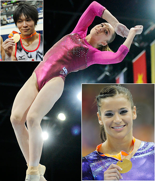 Kohei Uchimura (top left) confirmed his place atop men's gymnastics, and Alicia Sacramone (bottom right) made a golden comeback, but both were upstaged by a Russian teen. Aliya Mustafina (center), 16, took home five medals from Rotterdam, Netherlands, including all-around and team gold. The handful haul marked the most medals won by a single gymnast at a world championships since 2001.