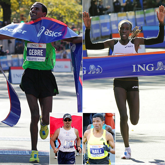 This year's 26.2-mile race will be remembered for one man who didn't finish and another who was beaten by Subway Jared. Marathon world-record holder Haile Gebrselassie dropped out mid-race and immediately announced his retirement (only to reconsider via Twitter days later). Freed Chilean miner Edison Pena was an inspiration by just running, let alone finishing, after being stuck under ground for 69 days. The winners were Edna Kiplagat and Gebre Gebremariam.