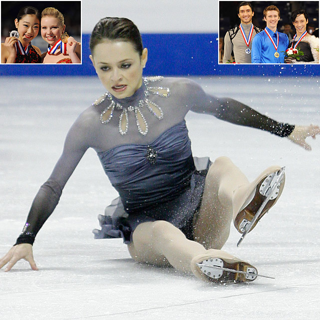 The most anticipated Olympic lead-up event saw the return of the most recognizable U.S. figure skater, Sasha Cohen, who came out of a three-year retirement to try to make her third Olympic team. It was not to be for the 2006 Olympic silver medalist, who had an excellent short program but faltered in the free skate, falling from second to fourth. Due to the U.S. women's struggles at the 2009 world championships, the U.S. could only take two women to Vancouver -- national champion Rachael Flatt and runner-up Mirai Nagasu (top left). The teenage duo was joined by favored men Jeremy Abbott, Evan Lysacek and Johnny Weir (top right) in earning Olympic nods.