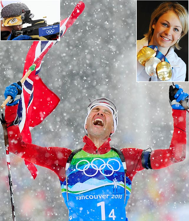 Norway's king turned in one more golden performance, while a German queen emerged in the women's competition. In his fifth (and perhaps final) Olympics, Ole Einar Bjorndalen added a gold and silver to his medal collection, giving him 11 career Olympic medals, second only to Norwegian cross-country legend Bjorn Daehlie (12) among Winter Olympic athletes. German Magdalena Neuner (top right), 13 years Bjorndalen's junior, was the female biathlon star with two golds and one silver in her first Winter Games.