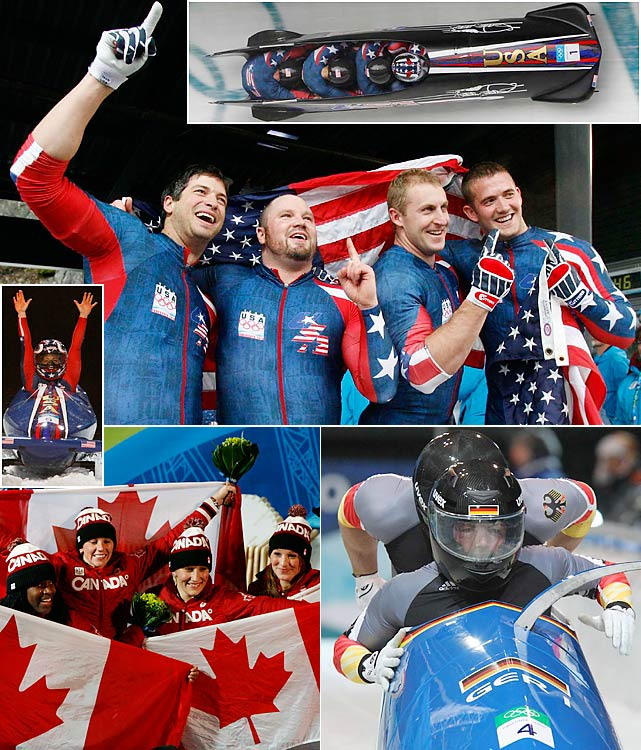 """Nobody could match the American """"Night Train"""" at the Whistler Sliding Center, as Steve Holcomb piloted the first American gold-medal winning sled in 62 years. Germany's Andre Lange (bottom right) settled for silver behind Holcomb in the four-man but also won the two-man event, giving him five career Olympic medals. Canada went 1-2 in the women's event, won by Kaillie Humphries (bottom left), but the U.S. duo of Erin Pac and Elana Meyers (middle left) surprised by nabbing the bronze."""