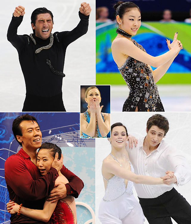 The Olympic figure skating competition mixed controversy, brilliance and emotion. In the men's competition, American world champion Evan Lysacek (top left) edged reigning Olympic champion Russian Evgeni Plushenko despite not attempting a quadruple jump. Kim Yu-na (top right) left no doubt on the ladies' side, smashing her previous record score to win an anticipated gold. Canadian Joannie Rochette (center) inspired by winning bronze days after her mother passed away. Fellow Canadians Tessa Virtue and Scott Moir (bottom right) beat out Americans Meryl Davis and Charlie White to win ice dance, while China's Shen Xue and Zhao Hongbo (bottom left) won their first pairs gold in their fourth Olympics.