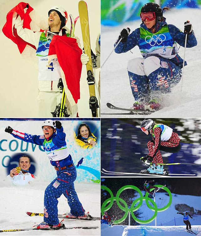 """All of Canada was focused on the moguls competition at Cypress Mountain, hoping for its first home gold at an Olympic Games. American Hannah Kearney (top right) spoiled Jenn Heil's bid on the first day of competition, but Alexandre Bilodeau (top left) became a national hero the next night with his gold-medal run. Ski cross (bottom right), making its Olympic debut, had reversed results for the host country. Ashleigh McIvor grabbed gold, but favorite Chris Del Bosco crashed out in the men's final. Aerials saw American Jeret """"Speedy"""" Peterson land his patented """"Hurricane"""" jump for a redeeming silver after getting kicked out of the 2006 Turin Games. Belarusian Aleksei Grishin and Austrlian Lydia Lassila were the surprise winners."""