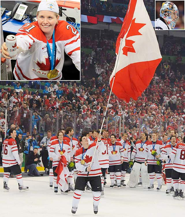 Canada claimed its most prized medals of the Games, hockey golds, by thwarting its neighbors to the south. The Canadian women dominated their final, beating the U.S. 2-0 for their third straight Olympic title. Sidney Crosby and Co. had a tougher time against Ryan Miller (top right) and the Americans. Zach Parise scored with 25 seconds left to send it to overtime at 2-2, but Crosby answered with the golden goal 7 minutes into sudden death. Ensuing celebrations poured into the streets across the country.