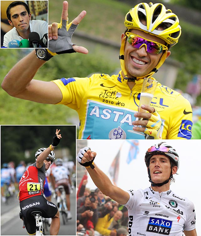 As usual, the Tour de France wasn't short on headlines in 2010. Alberto Contador won his third Tour at age 29, sparking debate as to whether he can eventually reach Lance Armstrong's record seven wins. Coincidentally, Armstrong announced it would be his final tour (for the second time). The Texan was thought to be a contender for the podium but fell out of favor early and finished 23rd.  Many now consider second-place finisher Andy Schleck (bottom right) the deserving champion for two reasons. 1) Contador controversially attacked and passed Schleck, who was donning the yellow jersey at the time, while Schleck was having problems with his bike chain in Stage 15. Some say it's poor sportsmanship to make such a move. 2) In September, it was announced that Contador tested positive for the banned substance clenbuterol during the Tour. On February 6, 2012, the CAS found Alberto Contador guilty of using the banned substance clenbuterol during the 2010 Tour de France. Contador received a two-year ban, back-dating to when he tested positive, and was stripped of his 2010 Tour de France title.