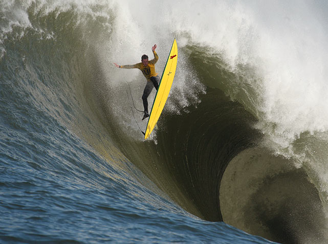 Ion Banner loses control of his board while surfing a gigantic wave during the first heat of the Mavericks surfing contest in Half Moon Bay, Calif.  The waves surfed that day were the biggest ever for a paddle-surfing contest.