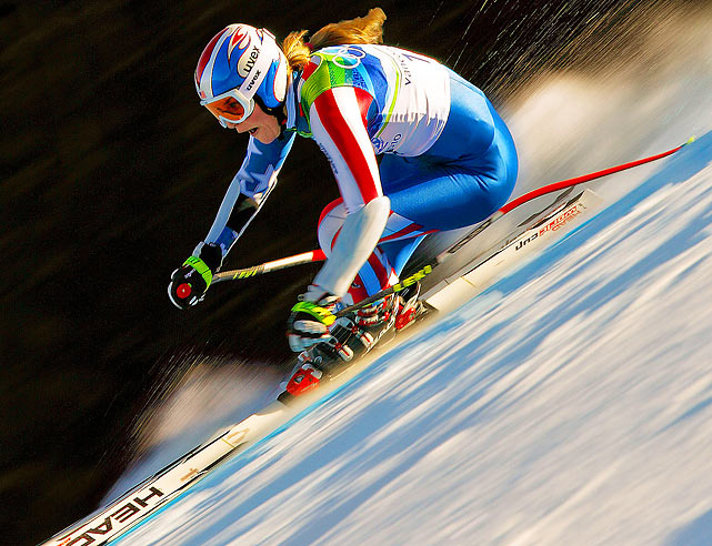 U.S. skier Lindsey Vonn races during the Alpine Super G at the Vancouver Olympics.  Vonn would win bronze in the event, adding to the gold medal she won in the downhill three days earlier.