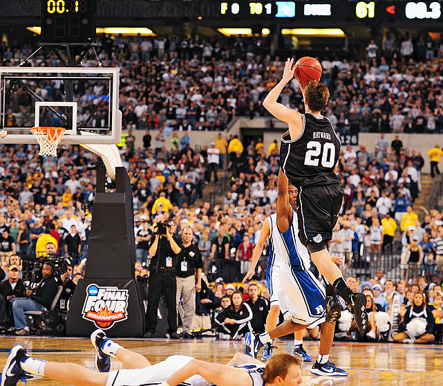 Butler Bulldogs forward Gordon Hayward heaves a half-court desperation shot as time expires during the NCAA title game at Lucas Oil Stadium in Indianapolis, Ind.  Hayward's shot bounced off the rim as the Duke Blue Devils held on to win their fourth national title, 61-59.