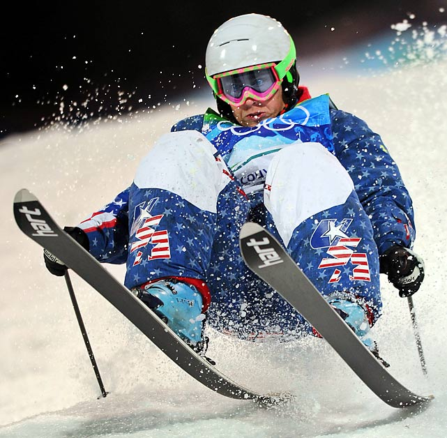 U.S. skier Patrick Deneen keeps his focus after losing his balance on the second ramp of the moguls freestyle skiing final at the Vancouver Winter Olympics.  Deneen would finish 10th overall in the event.