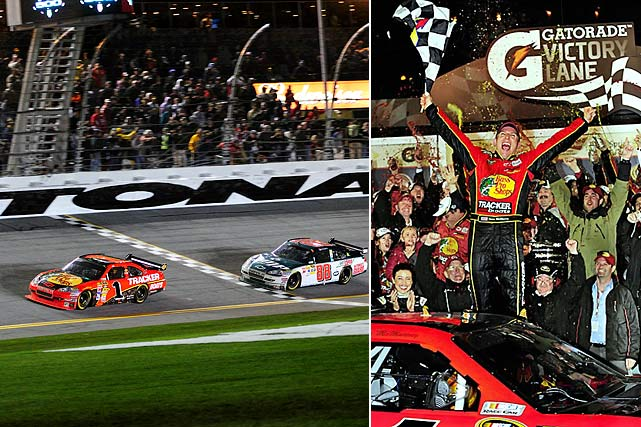 In a race marred by a pothole on the track that took over two hours to repair, Jamie McMurray held off a hard-charging Dale Earnhardt Jr. to win his first Daytona 500. Overcome with emotion, he sobbed in Victory Lane as he celebrated with his Earnhardt Ganassi Racing team