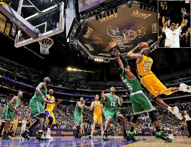The Los Angeles Lakers won their 16th NBA championship by rallying from a fourth-quarter deficit to defeat the Boston Celtics 83-79 in Game 7 of the NBA finals. L.A. repeated as NBA champions for the first time since winning three straight from 2000-02 and moved one championship behind Boston's 17 banners for the overall NBA lead.