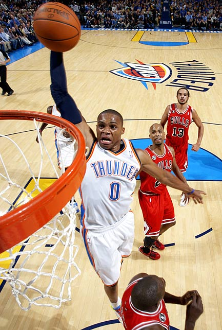 It's hard to give credit to anyone but Kevin Durant for the Oklahoma City Thunder's emergence. But as Durant has struggled with injuries this year, we've seen that he might not be the only superstar in OKC. In the four games the Thunder have played without Durant this season Westbrook has averaged 26.75 points, seven assists and 6.25 rebounds per game.  With his lightning-fast first step, it might be time to hail Westbrook as one of the best point guards in the league