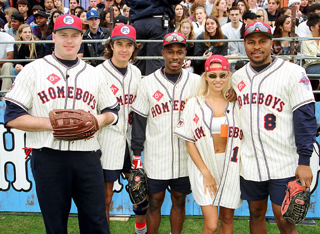 Members of the Homeboys -- Roger Clemens, Cameron Daddo, Kenny Lofton, Pamela Anderson and Albert Belle -- pose before the 1995 MTV Rock 'n Jock Baseball game.
