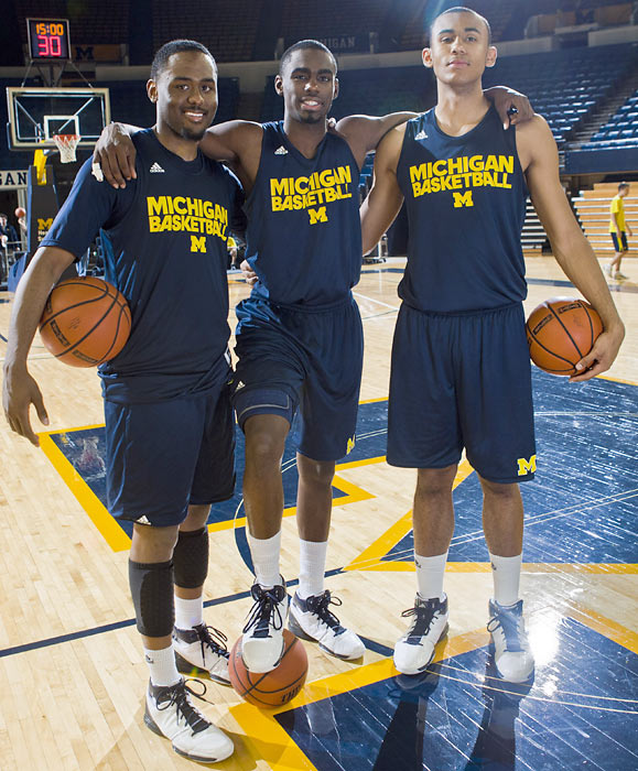 No matter what happens on the court, no NCAA team will have a better gene pool than this year's Michigan squad. Pictured here is Jordan Dumars, left, and Tim Hardaway, Jr., center, and forward Jon Horford (Tito's son, Al's brother). The team will be joined by Glenn Robinson III next season.