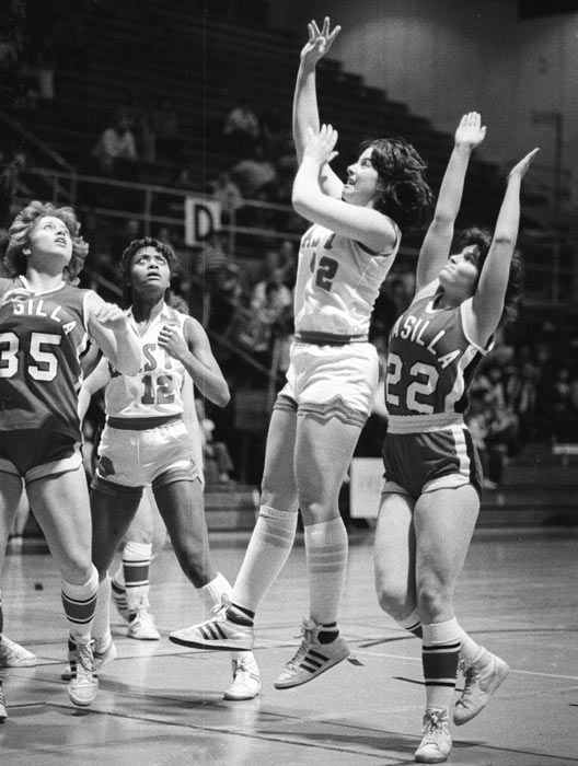 Sarah Palin (No. 22) has her hands high on defense during the 1982 Alaska state basketball championships. At the time, the Wasilla High School alum was known by her maiden name, Sarah Heath.