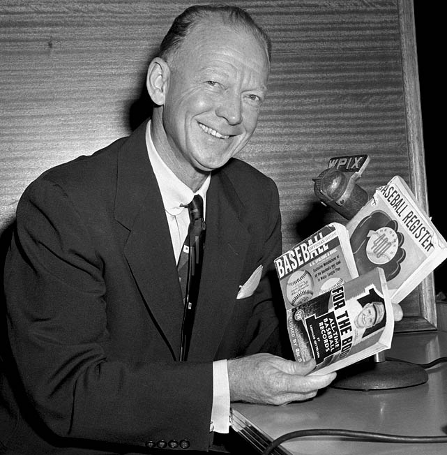 "Walter ""Red"" Barber broadcast Major League Baseball over four decades in stints with the Cincinnati Reds, Brooklyn Dodgers and New York Yankees. Barber's slow, southern style produced catchphrases like ""Can of corn"" and ""Rhubarb,"" and led to the veteran radio man to refer to players as ""Big Fella"" or ""Mister."""