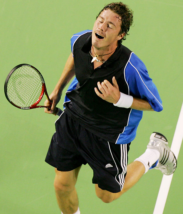 Marat Safin had one more ultimate Grand Slam run left in him in 2005, five years after his short-lived tenure as No. 1 in the world. A 5-7, 6-4, 5-7, 7-6 (8-6), 9-7 semifinal victory over Roger Federer was his biggest win in Melbourne. It came on his 25th birthday. The Russian saved a match point in the fourth-set tiebreak and outlasted the indominatable Federer, who needed trainers' help early in the fifth and fought off six match points in the final games. One of only four men to beat Federer in 2005, Safin went on to defeat Aussie Lleyton Hewitt in the final.