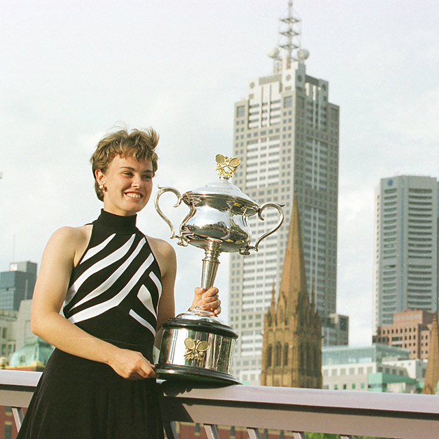 A new Martina began dominating the women's game in 1997, when 16-year-old Swiss prodigy Martina Hingis became the youngest Grand Slam champion. Hingis toppled Mary Pierce 6-2, 6-2 in the final, sparking one heck of a year. She reached No. 1 in the world in March and added Wimbledon and U.S. Open titles. Hingis successfully defended her championship in Melbourne in 1998 and 1999.