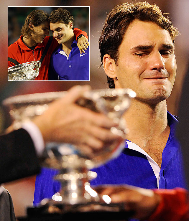 Roger Federer was overcome with emotion after losing to Rafael Nadal 7-5, 3-6, 7-6 (3), 3-6, 6-2 in the final, and it poured out as he accepted the runner-up trophy. Federer had been aiming to match Pete Sampras' record of 14 career Grand Slam titles. Instead, he lost his third straight Grand Slam final against Nadal, and many signaled it the end of the Federer era. The Swiss bounced back, however, winning both the French Open and Wimbledon to surpass Sampras.