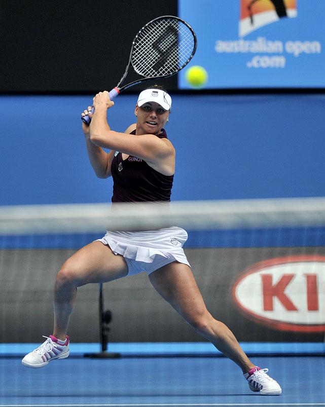 Zvonareva makes a backhand return to Kvitova during Wednesday's quarterfinal.