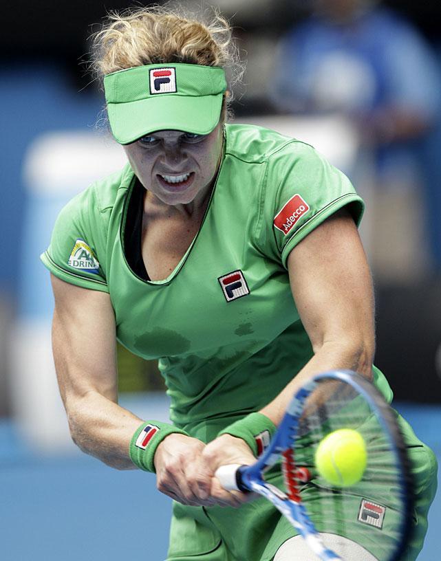Kim Clijsters of Belgium plays a forehand return during her quarterfinal match against Agnieszka Radwanska of Poland.