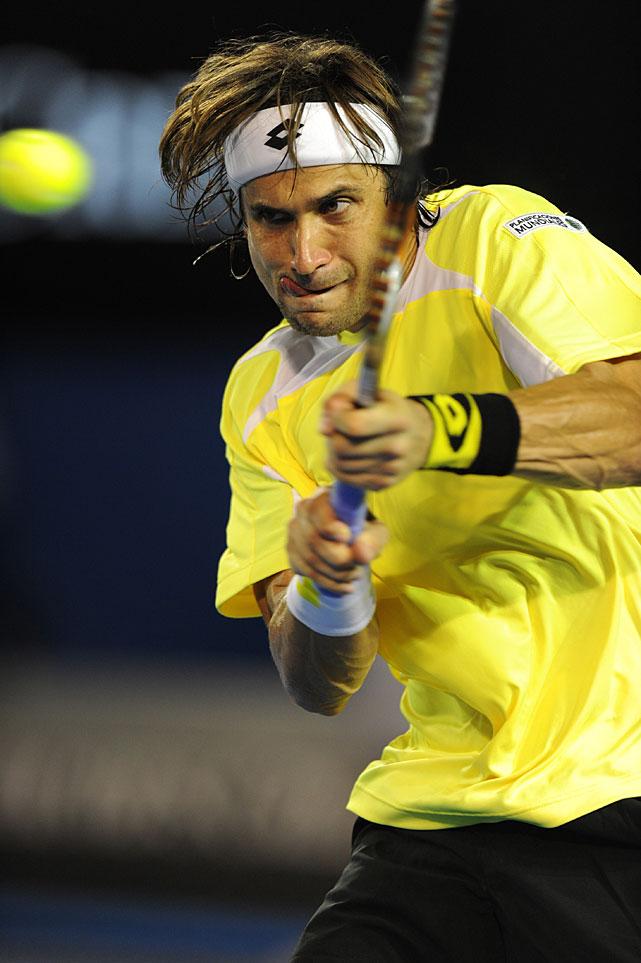 Ferrer returns against Nadal during Wednesday night's quarterfinal.