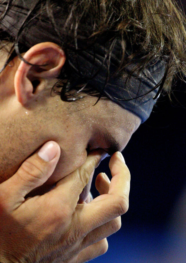 Nadal shows his emotions between games in his quarterfinal match against Ferrer.