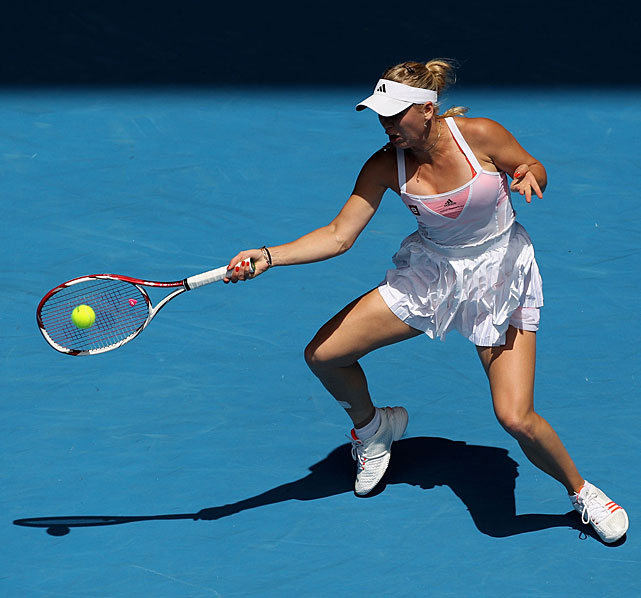 Wozniacki plays a forehand during Thursday's semifinal.