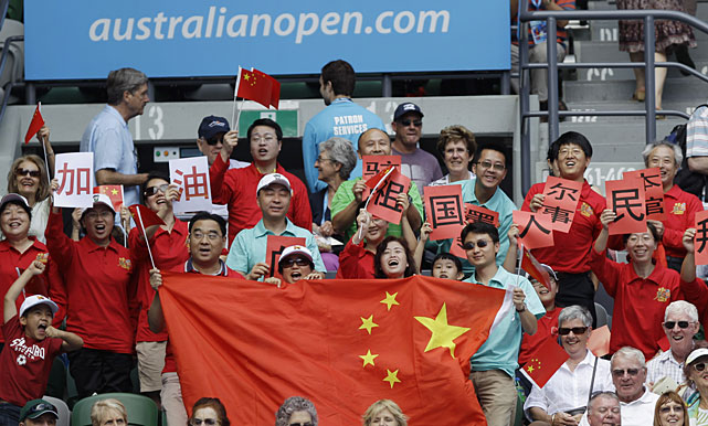 Supporters of Li Na cheer during Thursday's semifinal against Wozniacki.