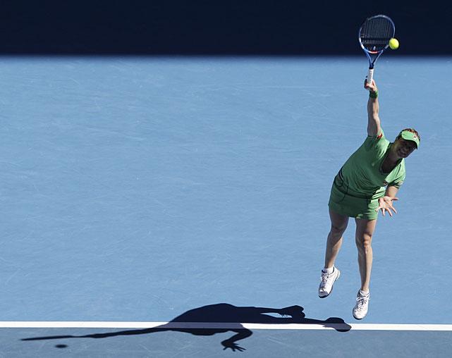 Clijsters serves to Zvonareva during Thursday's match.