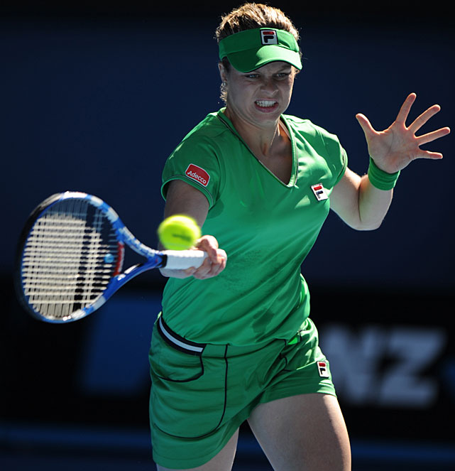 Kim Clijsters of Belgium returns against Vera Zvonareva of Russia during their women's semifinal match Thursday at Melbourne Park.