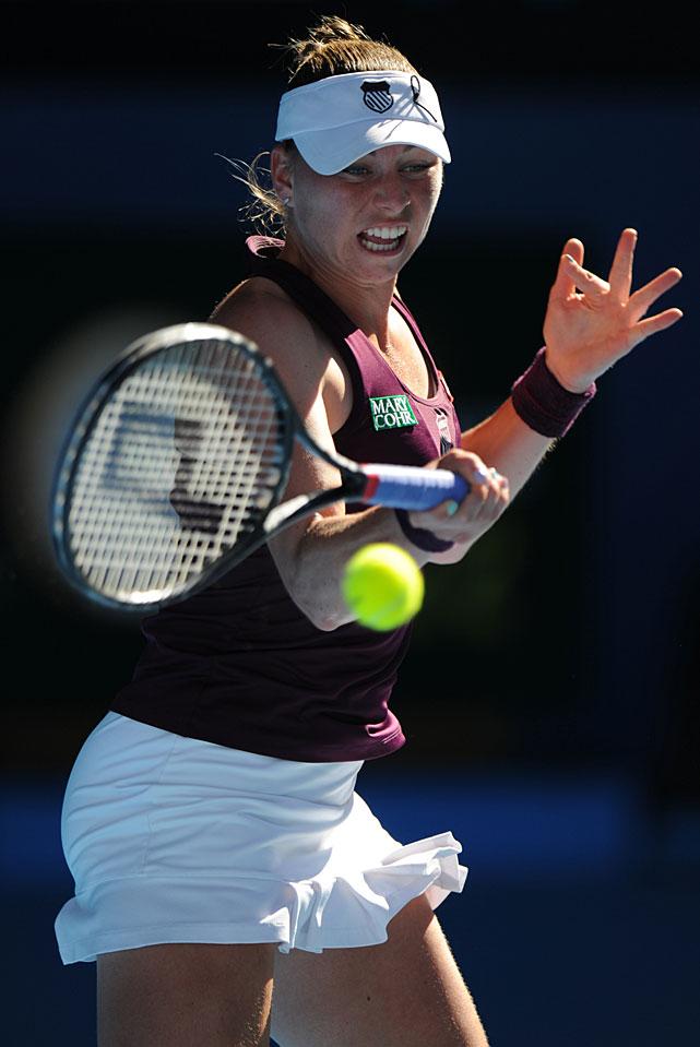 Zvonareva returns to Clijsters early in Thursday's match.