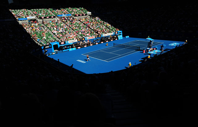 General view of the Rod Laver Arena bathed in sunshine during the Clijsters-Zvonareva semifinal.