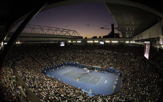 View from the catwalk of the ongoing men's semifinal between Djokovic and Federer.