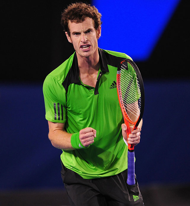 Great Britain's Andy Murray celebrates during Friday's semifinal against Spain's David Ferrer in Melbourne.