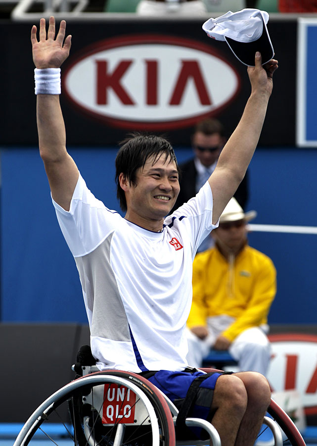 Kunieda celebrates after Saturday's victory.