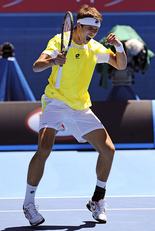 Jiri Vesely of the Czech Republic celebrates after defeating Australia's Luke Saville in the junior boys' singles final.