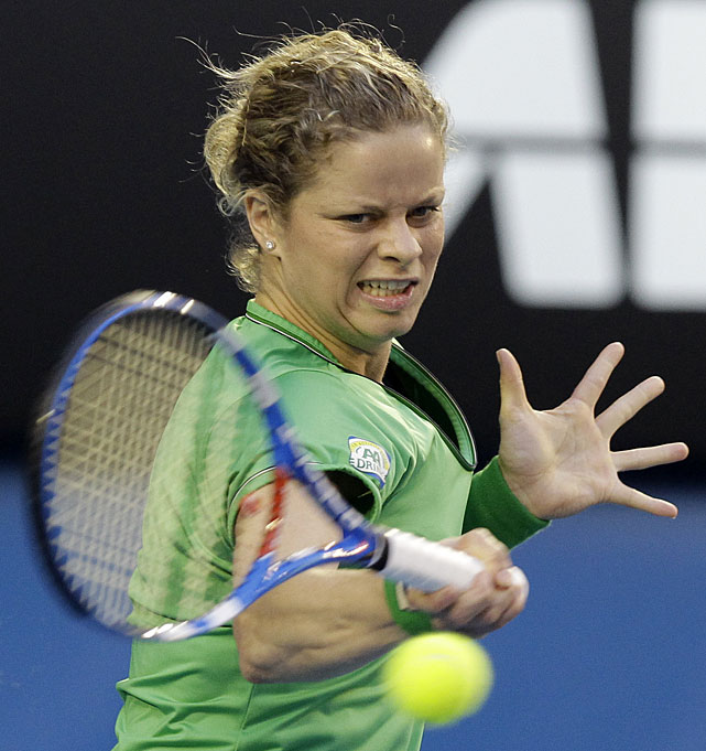 Clijsters plays a forehand return early in Saturday's match.