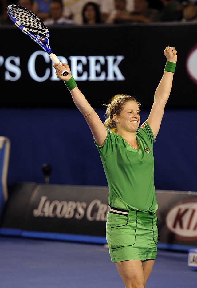 Clijsters celebrates after beating Li for the Australian Open title.